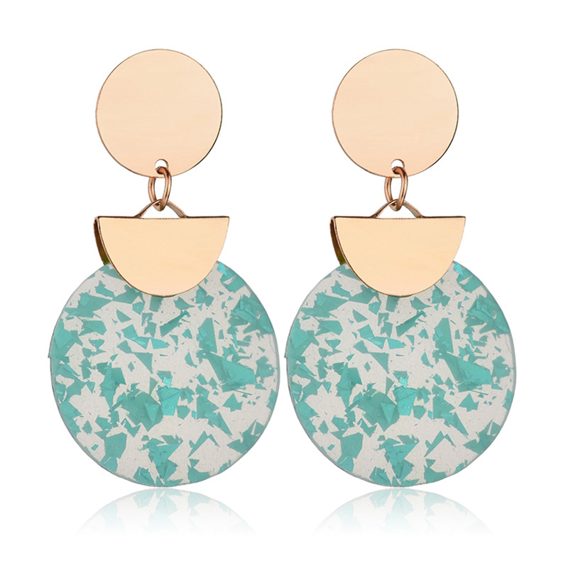 Free Shipping 2018 New Fashion Simple Round Shaped Resin Leopard Print Earrings For Women 10 Color Trendy Drop Earrings Jewelry