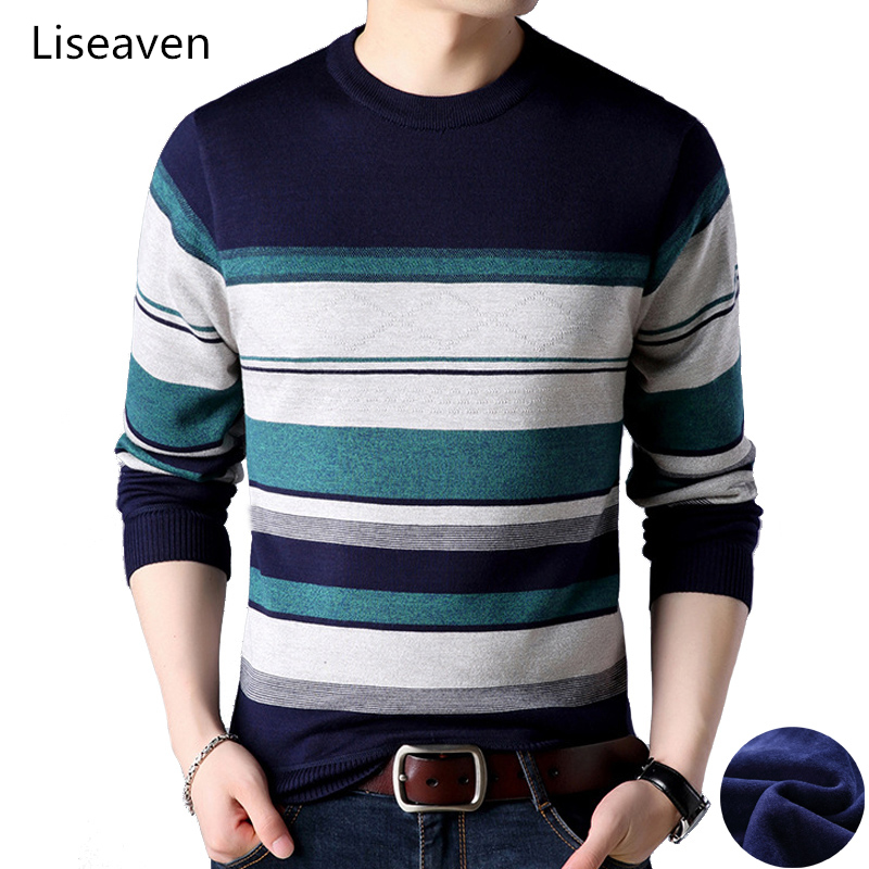 Liseaven Men Fleece Thick Sweaters Pullover Sweater Winter O-Neck Pull Homme Men Striped Pullovers