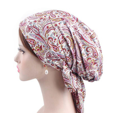 women hijabs head scarf bonnet islamic cover turban hat floral printed cotton muslim caps band ribbon wrap