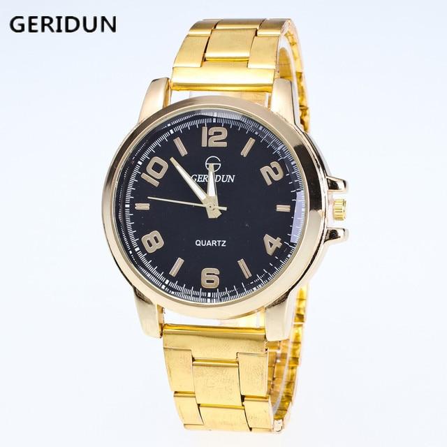 9b9481b3acfe5 Geridun الرجال الذهب ووتش رجالي ساعات ماركة الرجال الكامل للصدأ ووتش رجل  الأزياء كوارتز الساعات الرياضية