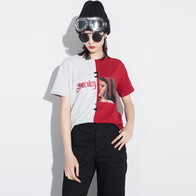 [Soonyour] 2017 novo verão em torno do pescoço divisão conjunta carta bordado bandagem de manga curta t-shirt da forma das mulheres maré j04201