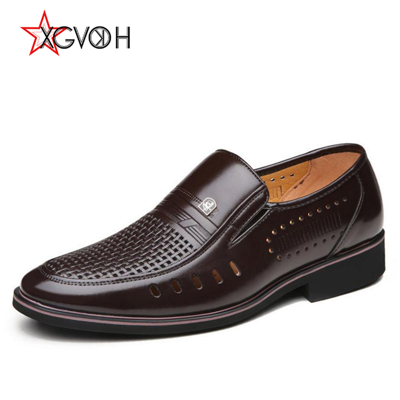 Mens Shoes Summer Business Oxfords Hollow Breathable Comfortable Loafers Split Leather Men's formal Flats For Casual Men choudory summer dress crocodile skin shoes men breathable prom shoes full grain leather pointy mens formal shoes shoe lasts