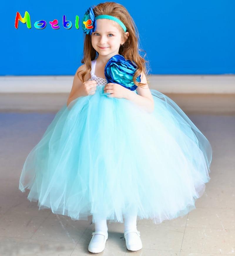 Big Flower Baby Girls Tulle Tutu Dress with Matching Headband Infant Patty Clothing Set Photo Props Summer