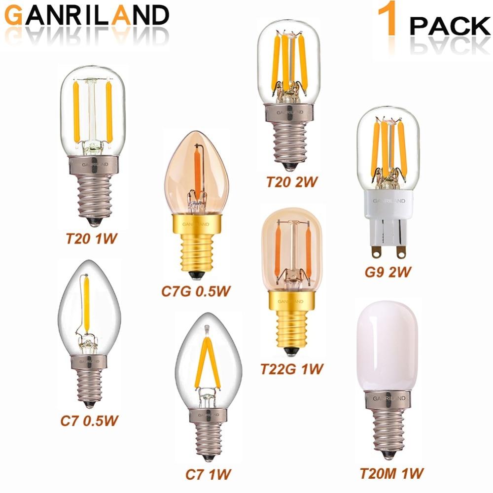 GANRILAND G9 Led Dimmable Bulb E12 E14 220V 0.5W 1W 2W LED Lamp LED Filament Night Light Chandelier LED Edison Bulbs C7 T20 T22GGANRILAND G9 Led Dimmable Bulb E12 E14 220V 0.5W 1W 2W LED Lamp LED Filament Night Light Chandelier LED Edison Bulbs C7 T20 T22G