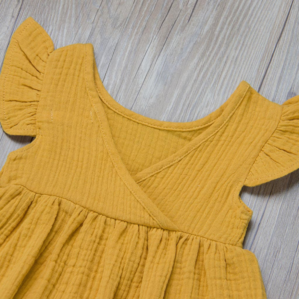 Toddler Kids Baby Girl Solid Ruffled Fly Sleeve Vintage Princess Dresses Clothes