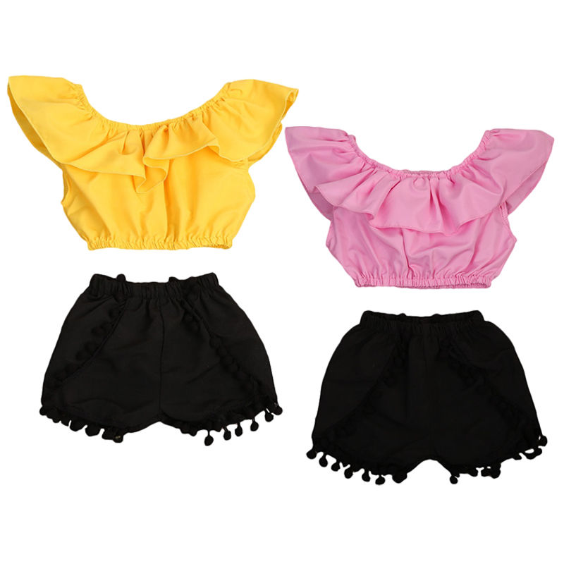 Shorts 2 Pcs Outfits Baby Kids Girls Ruffle Sleeveless Top Off-Shoulder Crop Top Floral Tassel Blouse