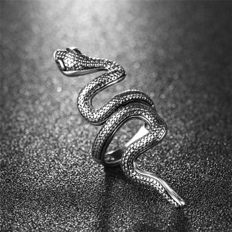 Ring for Women Adjustable Ring Finger Punk Antique Silver Snake Open Ring Jewelry 2019