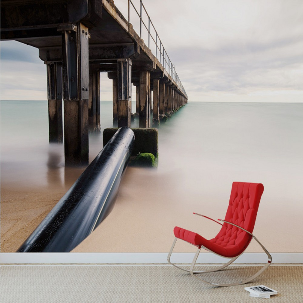 Free Shipping Custom 3d Mural Seaside Wooden Bridge Landscape Painting Living Room Sofa Backdrop Wallpaper Nature Wallpaper Wall book knowledge power channel creative 3d large mural wallpaper 3d bedroom living room tv backdrop painting wallpaper