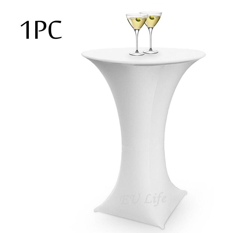 1 Pz Bianco/poliestere Nero Lycra Dry Bar Copertura Spandex Copertura Di Tabella Del Cocktail Tovaglia Per Festa Di Nozze Banchetto Della Decorazione 60 Cm