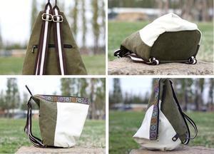 Image 5 - Nuovo stile nazionale di modo della tela di canapa zaino portatile borsa delle signore di sacchetto di spalla del Burlone borsa studente