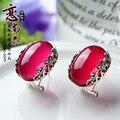 925 Esterlina brincos de Prata Thai feminino retro padrão natural semi-preciosa pedras corindo vermelho vermelho de presente namorada
