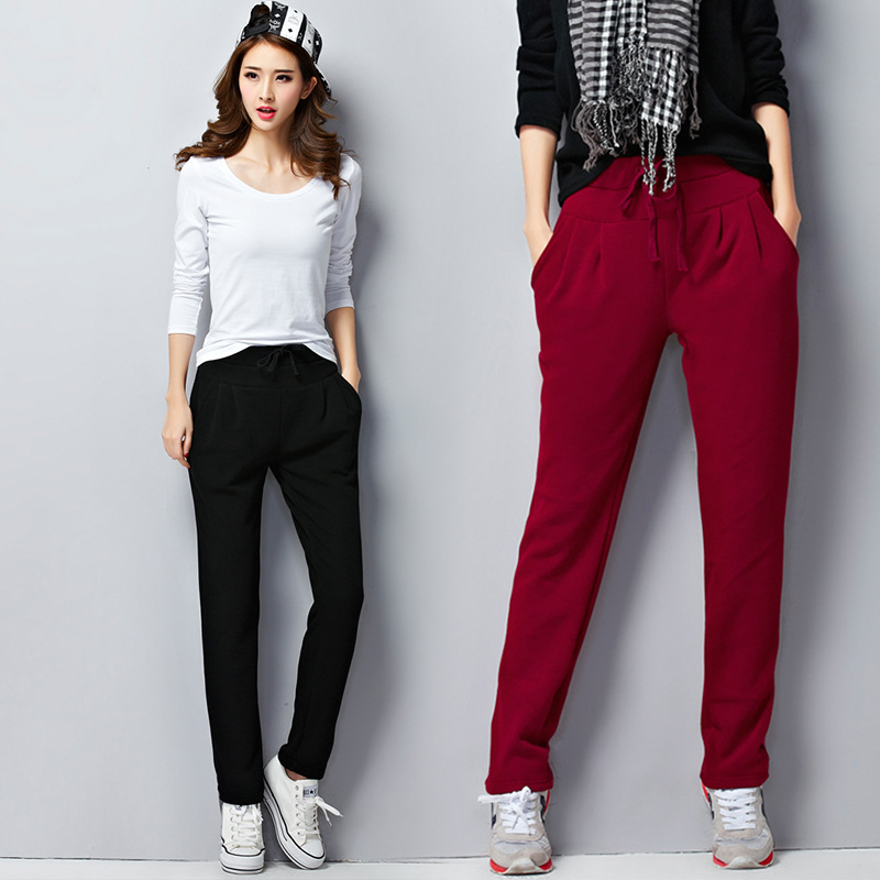 Female Winter Velvet Thick Pants High Waist Plus Size 5Xl 6XL Loose Solid Harem Pants Womens Fleece Warm Sweatpants Trousers