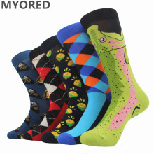 Фотография MYORED 5pairs/Lot socks men funny colorful pack socks lot combed cotton novelty wedding socks for couple gift sock