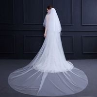 Fishday 2019 Tulle Bridal Wedding Veil Simple Velo Novia Two Layer Girls Long 3m White Accessories Woman Femme With Comb D30