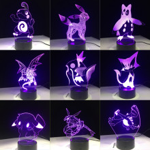 New Pokemon Go Mimikyu Ho-Oh Purrloin Magikarp Raikou Rayquaza Prinplup Politoed lugia Cartoon 3D LED Lamp 7 Colors Night Light(China)