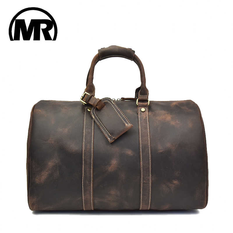 MARKROYAL Travel Bag Large Capacity For Men And Women Retro Bag First Layer Leather Travel Tote Large Weekend Bag Overnight