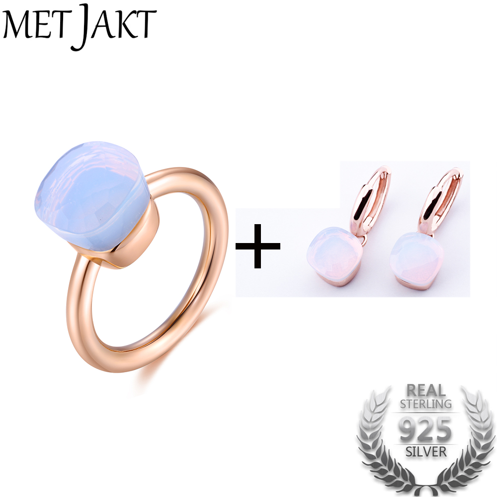 MetJakt Moonstone Earring Ring Jewelry Sets Solid 925 Sterling Silver Rings with Rose Gold Plated for