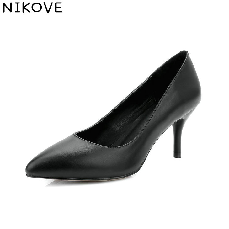 NIKOVE 2018 Women Pumps Spring and Autumn Slip on Thin High Heels Out Door Pointed Toe Cow Leather PU Women Shoes Size 34-42 enmayer spring autumn women fashion party rhinestone beading pumps shoes pointed toe slip on thin heels large size 34 43 beige