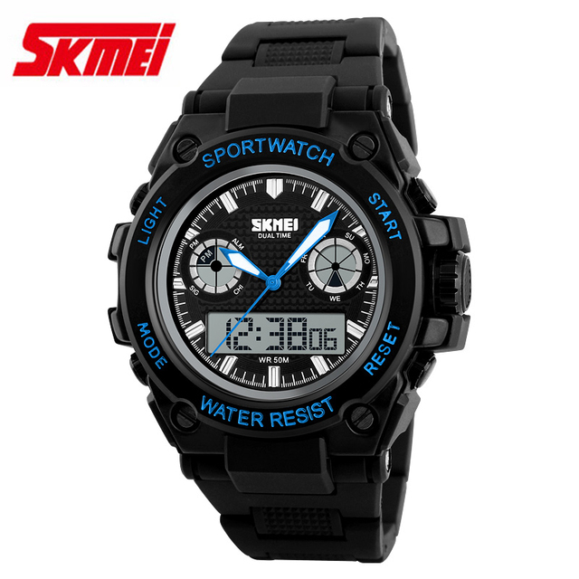 SKMEI 1217 Men Fashion dual display Watch Automatic waterproof army military wristwatch top quality mens famous datejust clock
