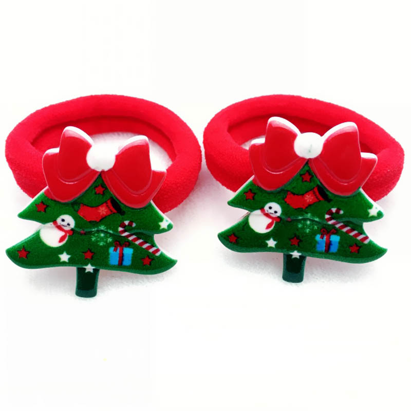 2PCS/ Pairs Of Fashion Girls Lovely  Popular Christmas Hair Strings Snowman  Children's Elastic Hair Adornment 4