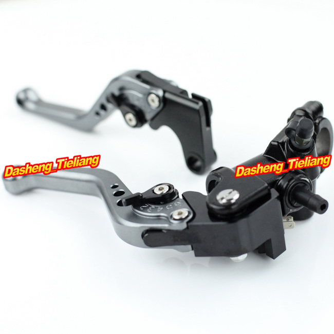 Adjustable Motorcycle Brake Clutch Levers w/ Adapter For Yamaha YZF R1 2004-2013 & YZF R6 2006-2013 Grey High Quality with logo yzf r1 black titanium adjustable folding motorcycle brake clutch levers for yamaha yzf r1 2004 2005 2006 2007 2008