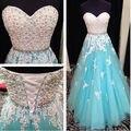 Blanco y Azul Baile Vestidos Largos 2015 Nueva Novia Sin Mangas Rebordear Una Línea de cordones Longitud del Piso de Tulle Stock vestido Vestido