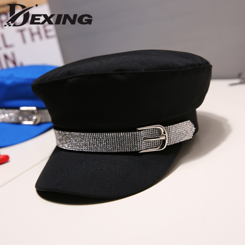 Fashion Diamond Military Hat Autumn Cotton Sailor Hat For Women  Flat Top Female Crystal Travel Cadet Rhinestone Hat Captain Cap