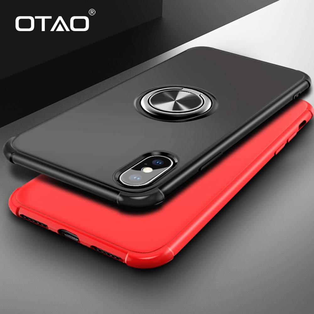 OTAO 360 Finger Ring Holder Phone Case For iPhone XS MAX XR X 8 7 6 6s Plus Airbag Shockproof Case Magnetic Car Stand Back Cover(China)