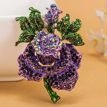 Four color Rose Flower brooch Women Best Wedding Accessories Esmalte Enamel Pin Brooch Colares Violetta Purple Brooch Broches(China)