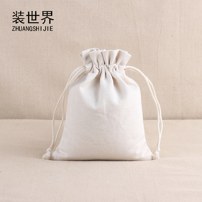 10*14.5cm Natural Resuable Cotton Canvas Pouch Custom Logo Print Eco Drawstring Gift Wedding Party Christmas Packaging Bags
