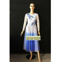 Custom Made Chinese Folk Dance Costumes Dress For Woman,Blue Flower Gradient Color Of Dresses Stage Wear Long Dress Lace Sleeves