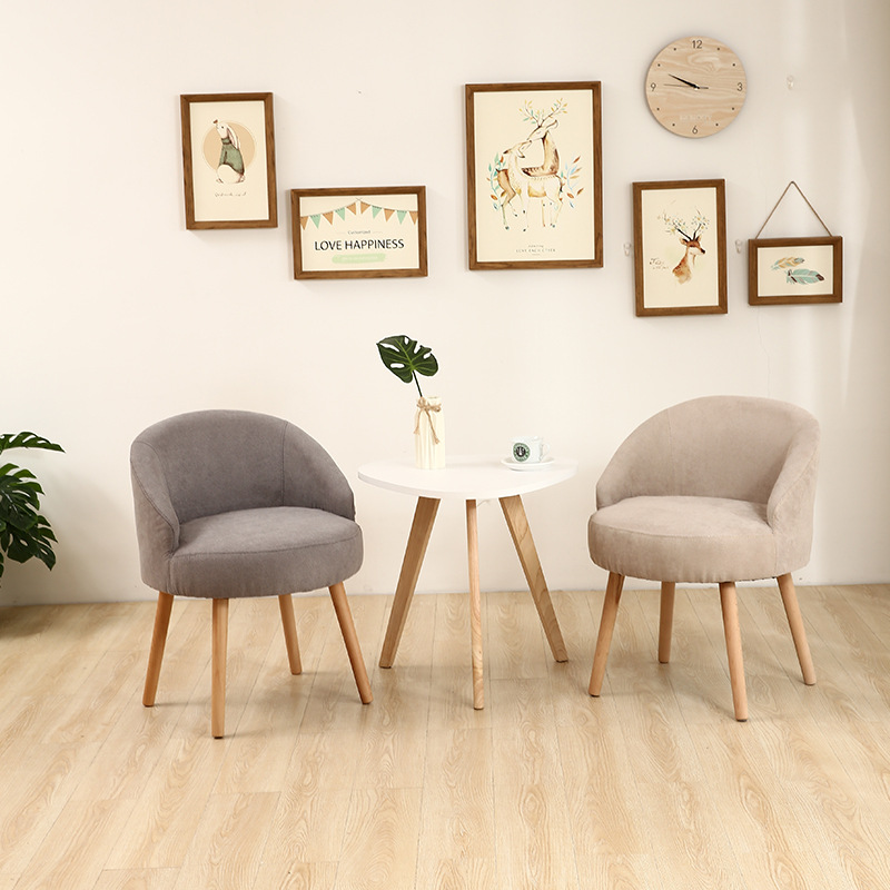 Nordic Fabric Lazy Sofa Casual Living Room Home Furniture Solid Wood Dining Room Dining Chair Fashion Creative Personality Chair