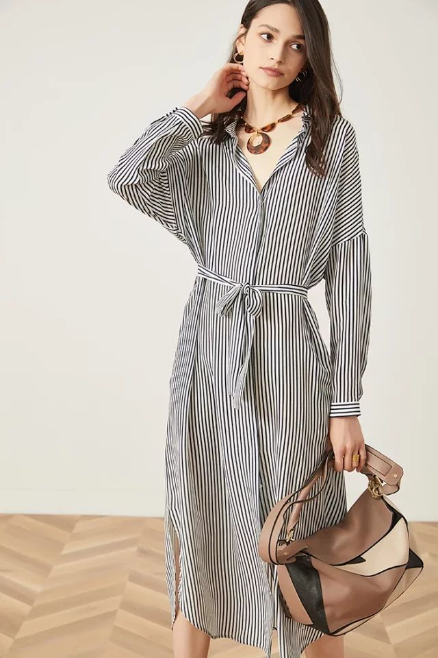 Women Dress 2019 New Striped Silk Dress