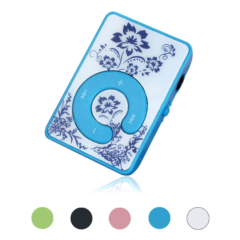 FGHFG 2018 Hifi Mini Clip Flower Pattern MP3 Player Music Media Support Micro SD TF Card With Charging Cable Drop Shipping