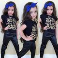 2016 New Fashion Baby Girls Clothes 2pcs Short Sleeve T-Shirt Top Cool PU Leather Pant Outfit Little Girls Kids Clothing Set