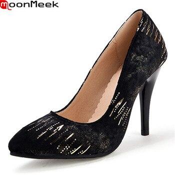 Zapatos de tacón fino MoonMeek 2018 sexis para mujer, zapatos de tacón alto con punta estrecha, zapatos de mujer de boda con brillo