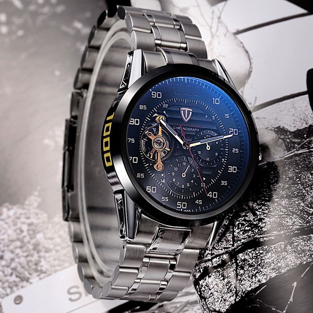Tevise Tourbillon Automatic Mechanical Men 24 Display Stainless Steel Wristwatch