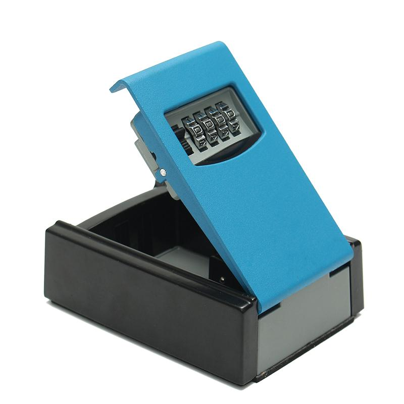 Portable Safe Box Wall Mounted 4 Password Keys Combination Lock Metal Alloy Storage Store Key Storage Organizer Boxes