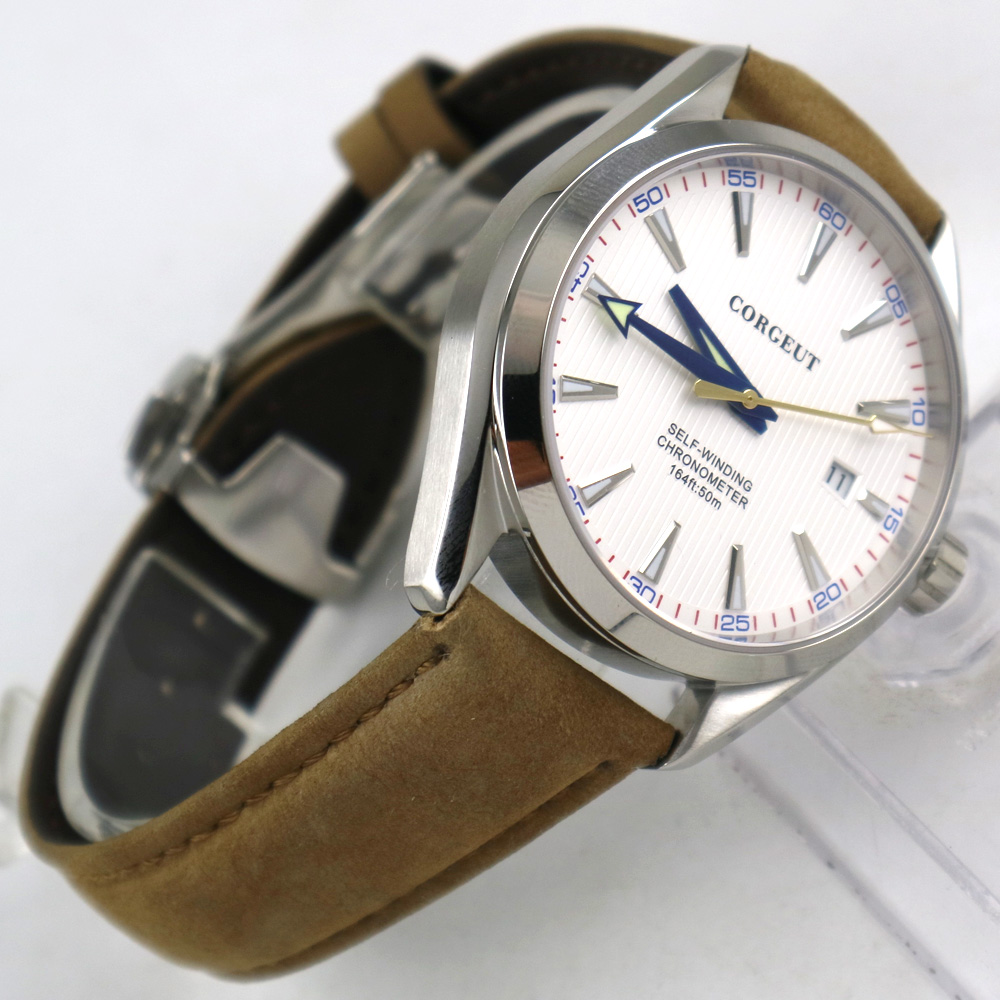 Poliert 41mm corgeut weiß zifferblatt Saphirglas automatische herren Uhr-in Mechanische Uhren aus Uhren bei  Gruppe 2