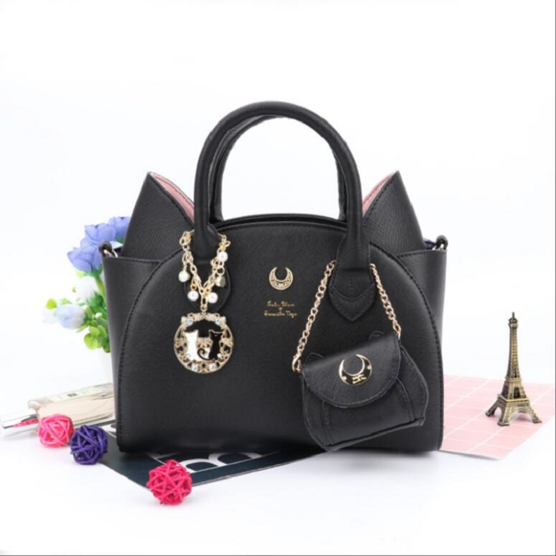 Summer Sailor Moon Bag Samantha Women Handbag Black White Cat Ear Shoulder PU Leather Woman Messenger Crossbody Hand evening Bag 2017 brand design black white sailor moon luna artemis hand bag samantha vega handbag cat ear shoulder bag messenger bag