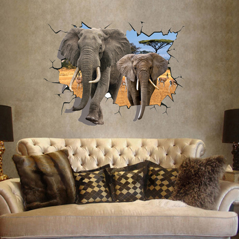 buy large sticker 3d elephants wall