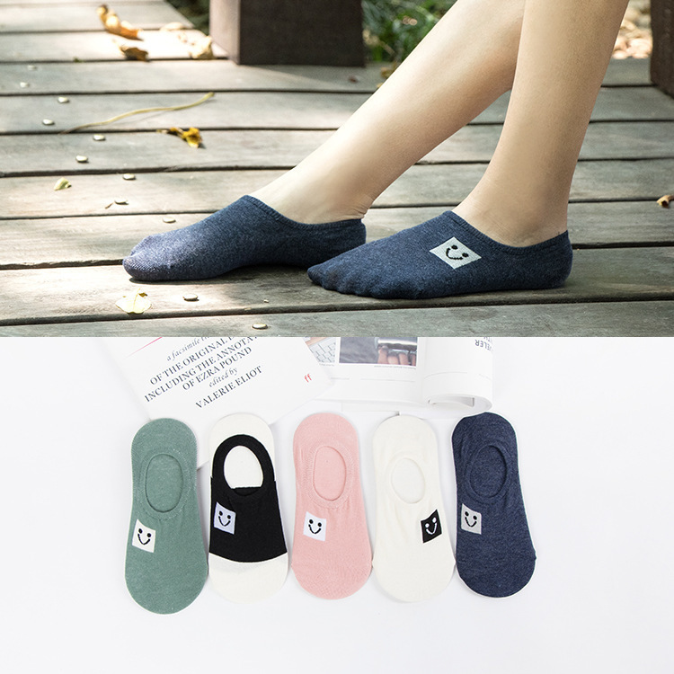 Smile face Invisible Short Woman Sweat summer comfortable cotton girl boat   socks   ankle low female hosiery 1pair=2pcs ws166