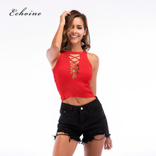 цены Echoine Sexy Vests O-Neck Crop Top Crisscross Straps Sleeveless Summer Stylish Party Tanks Tops Knit Slim Fit Basics Highstreet