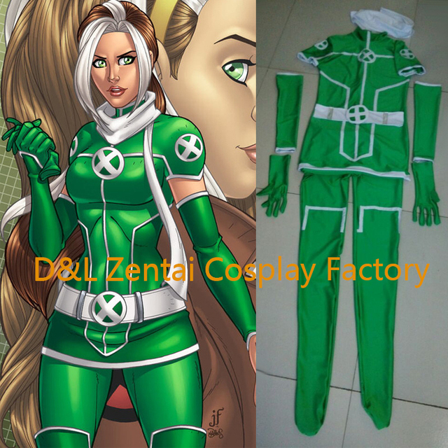 Us 60 99 Free Shipping Dhl Hot Adult X Men Rogue Cosplay Costume White Green Lycra Spandex Catsuit Dress Superhero Halloween Costume In Movie Tv