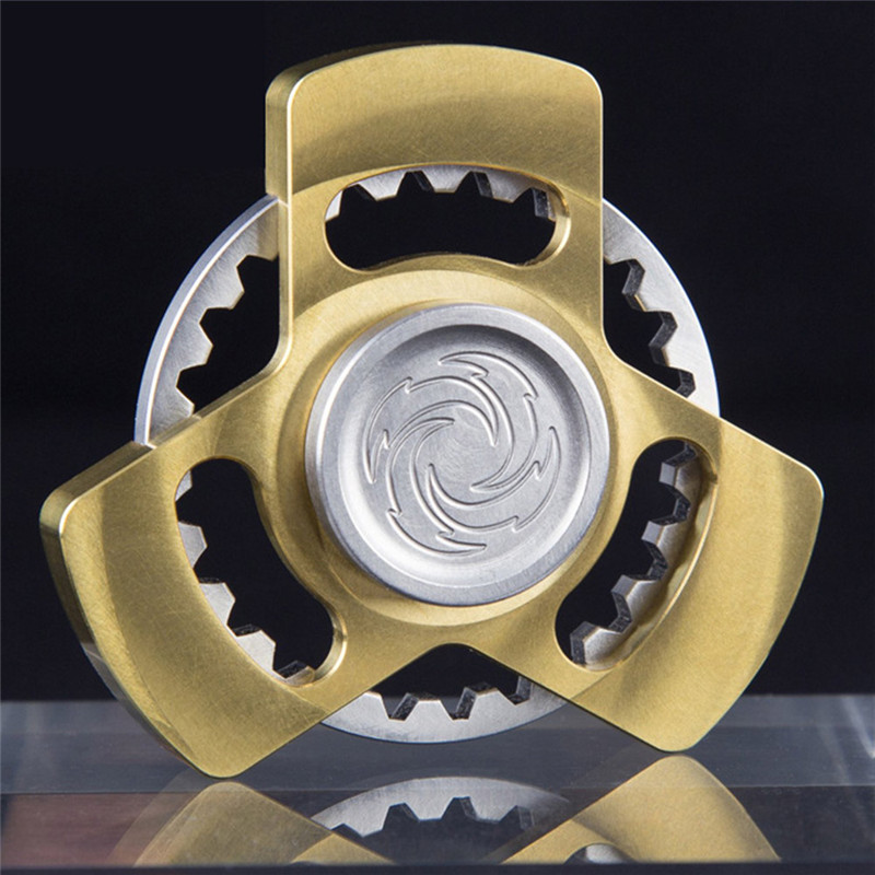 Brass Gear Finger Fidget Spinner Whirlpool Hand Spinner EDC Kids Adult Spinner Relieve Stress Toy For Autism and ADHD four leaves colorful wings rainbow butterfly shaped metal hand fidget spinner toy edc toy spinner gift kids adult finger