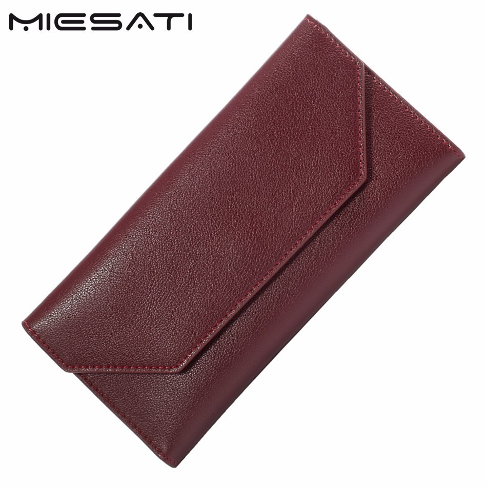 MIESATI Women Long Wallet Card Holders Slim Thin Wallet Day Clutch Minimalist Envelope Money Purse Brand Fashion Standard Wallet