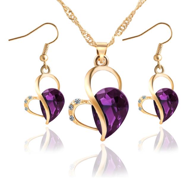 17KM 2016 Women Fashion Jewelry Set Necklace Earrings Heart Love Crystal Rhinestone 3 color Gem Party Jewelry Sets For Women
