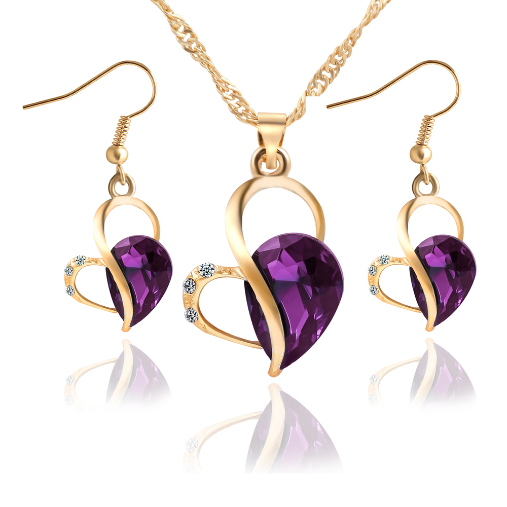 17KM Fashion Women Jewelry Set Necklace Earrings Heart Love Crystal Rhinestone 3 color Gem Party Jewelry Sets For Women