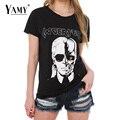 Лето майка женщины топы череп печатные Карл черный панк рок с коротким рукавом о-образным вырезом случайные футболки женщины тис 2016 новый топы