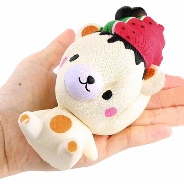 Mskwee Kawaii sandía helado oso Squishy lindo dibujos animados lenta Rising colgante niños apretón divertido juguetes regalos para niños
